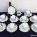 Antigüedades: JUEGO ANTIGUO DE TAZAS EN PORCELANA DE LIMOGES SELLO LIMOGES. Lote 122313739