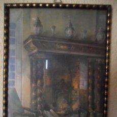 Antigüedades - ANTIGUO CUADRO CON LITOGRAFIA DE PINTURA HOLANDESA - 122317267