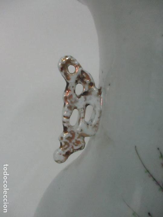Antigüedades: Pareja Jarrones Orientales - Jarrón Porcelana de Nanking, China - Peanas de Madera - Altura 48,5 cm - Foto 27 - 150332305