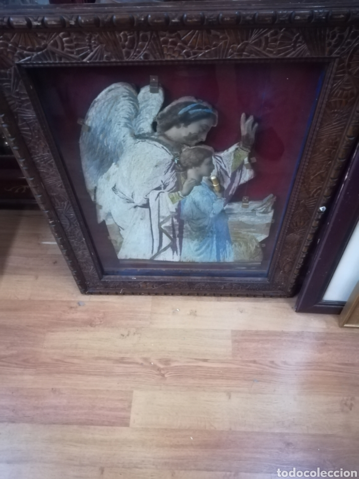 Antigüedades: Marco bitrina con imagen religiosa echa en tela - Foto 2 - 122342851