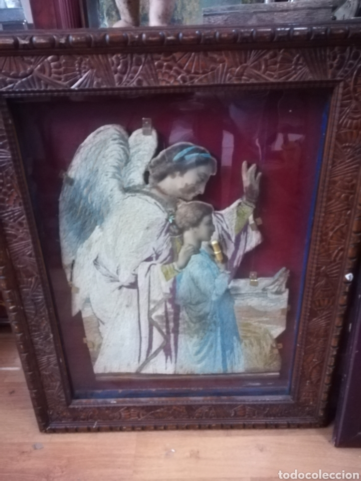 Antigüedades: Marco bitrina con imagen religiosa echa en tela - Foto 3 - 122342851