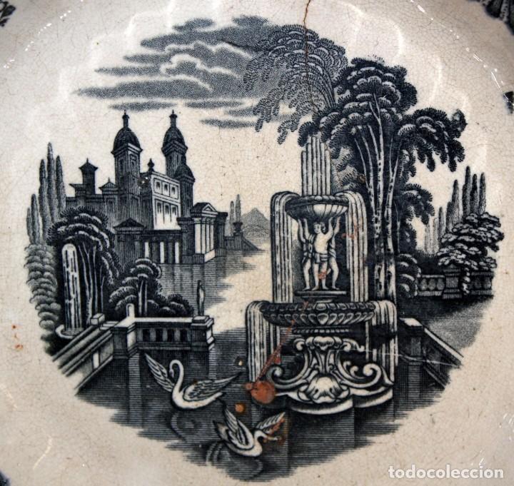 Antigüedades: ENSALADERA EN CERAMICA PICKMAN & CIA (1870 -1899) LA CARTUJA SEVILLA - Foto 2 - 122416111