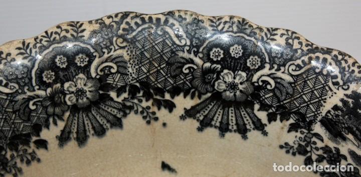 Antigüedades: ENSALADERA EN CERAMICA PICKMAN & CIA (1870 -1899) LA CARTUJA SEVILLA - Foto 3 - 122416111