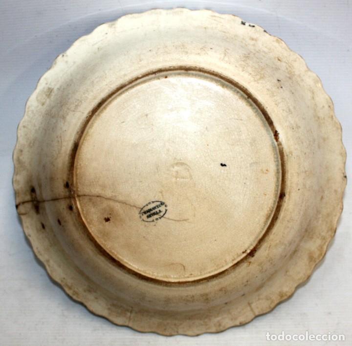 Antigüedades: ENSALADERA EN CERAMICA PICKMAN & CIA (1870 -1899) LA CARTUJA SEVILLA - Foto 8 - 122416111