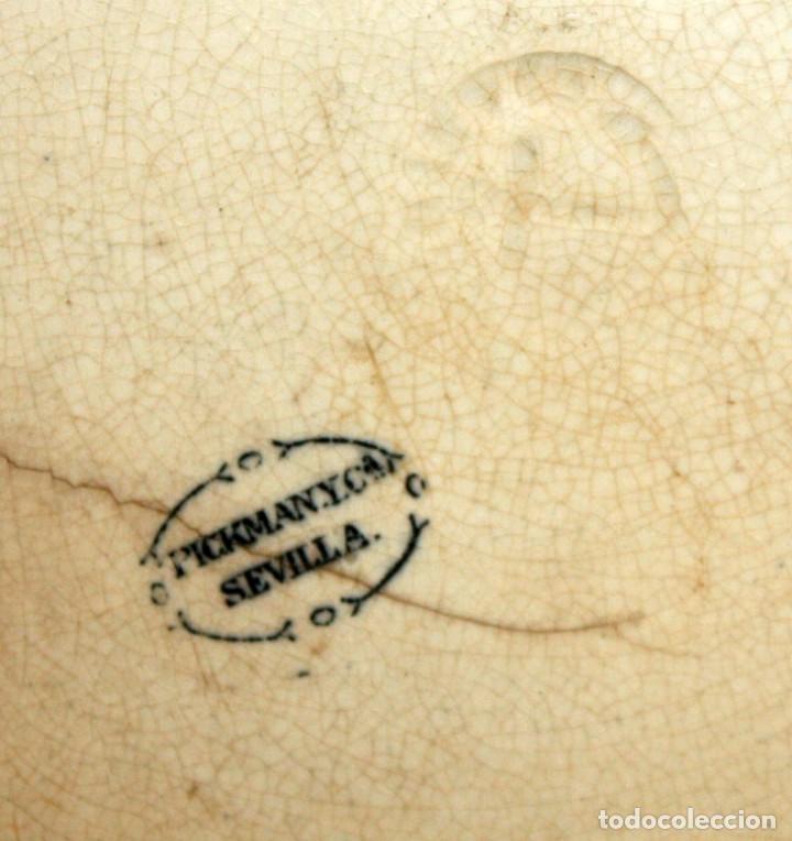 Antigüedades: ENSALADERA EN CERAMICA PICKMAN & CIA (1870 -1899) LA CARTUJA SEVILLA - Foto 9 - 122416111