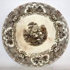 Antigüedades: GRAN PLATO EN CERAMICA PICKMAN & CIA (SEMI CHINA) DEL SIGLO XIX. LA CARTUJA SEVILLA. 39 CM. DIAMETRO. Lote 122425255