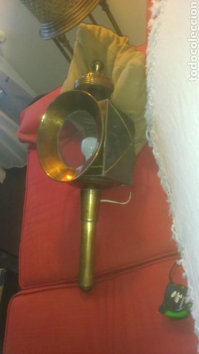 FAROL DE CARRUAJE GRANDE DE 65 CM. ELECTRIFICADO. (Antigüedades - Iluminación - Faroles Antiguos)