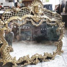 Antigüedades: IMPORTANTE Y GRAN ESPEJO DE BRONCE, CON COPETE, VER FOTOS 90X77CM. Lote 122455858