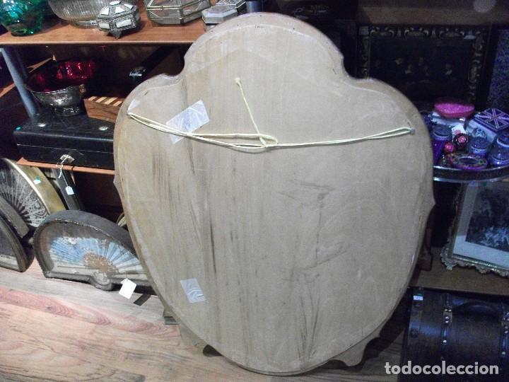 Antigüedades: Espejo grande de madera medida 100 X 75 cm. ver fotos - algún agujerito de carcoma - Foto 3 - 122460687