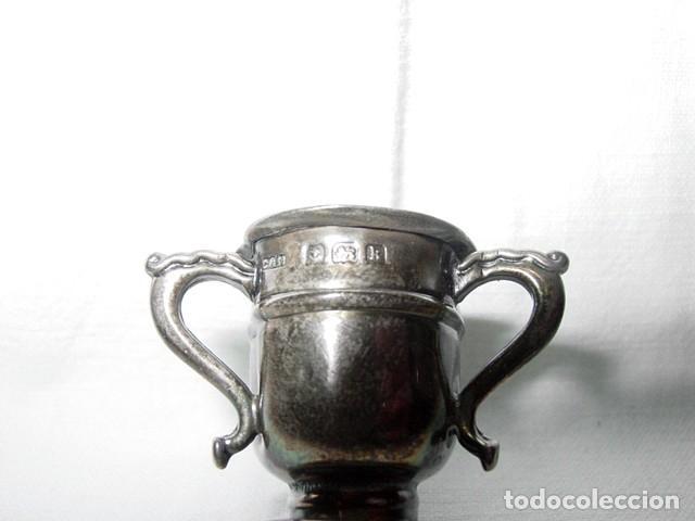 Antigüedades: MINIATURA. COPA CENTRO VASIJA O VASO DE PLATA CON 3 TRES ASAS-4 PUNZONES. PRINCIPIO 1900 - Foto 6 - 122481631