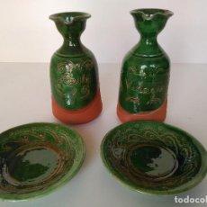 Antigüedades: ACEITERA Y VINAGRERA CON PLATOS DE CERÁMICA POPULAR DE ÚBEDA. Lote 122482495