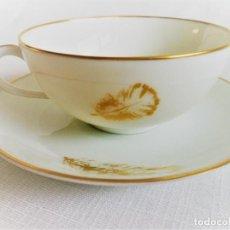 Antigüedades: JUEGO DE CAFE DE PORCELANA FINA DE PORCELANA DE LIMOGES 4 POCILLOS Y SUS PLATILLOS - SELLADA. Lote 122519311
