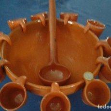 Antigüedades: POTE, CAZO Y 11 TAZAS PARA QUEIMADA EN BARRO ESMALTADO. GRAN TAMAÑO.27 DIÁMETRO X 13 DE ALTO.. Lote 217393778