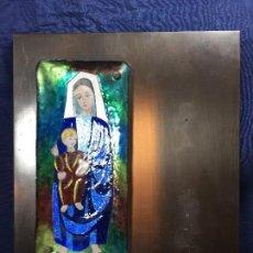 Antiquitäten - virgen con niño esmalte sobre cobre base de madera forrada laton años 60 70 40x31,5cms - 122540315