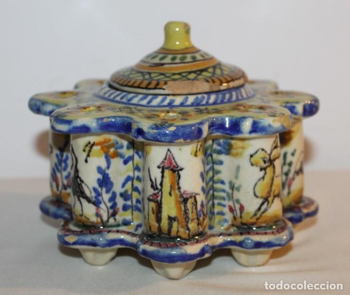 TINTERO EN CERÁMICA ESMALTADA DE TRIANA - PRINCIPIOS DEL SIGLO XX (Antigüedades - Porcelanas y Cerámicas - Triana)