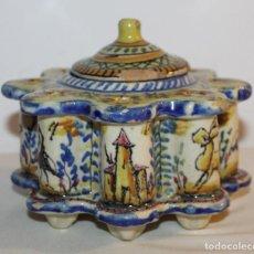 Antigüedades: TINTERO EN CERÁMICA ESMALTADA DE TRIANA - PRINCIPIOS DEL SIGLO XX. Lote 122545855
