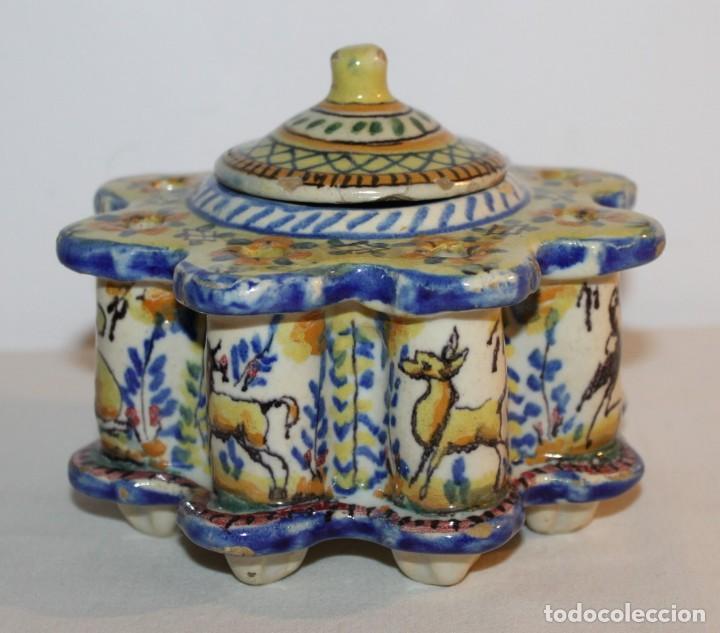 Antigüedades: TINTERO EN CERÁMICA ESMALTADA DE TRIANA - PRINCIPIOS DEL SIGLO XX - Foto 2 - 122545855