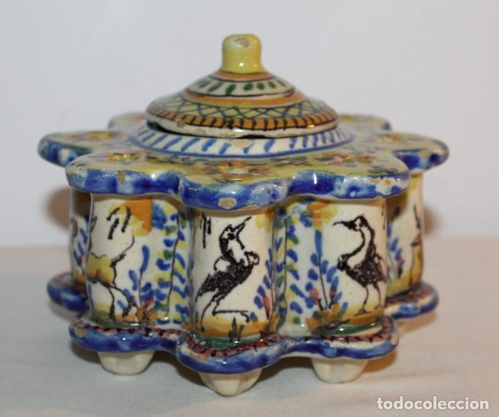 Antigüedades: TINTERO EN CERÁMICA ESMALTADA DE TRIANA - PRINCIPIOS DEL SIGLO XX - Foto 3 - 122545855