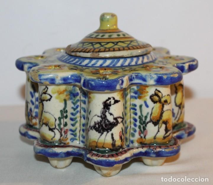 Antigüedades: TINTERO EN CERÁMICA ESMALTADA DE TRIANA - PRINCIPIOS DEL SIGLO XX - Foto 4 - 122545855
