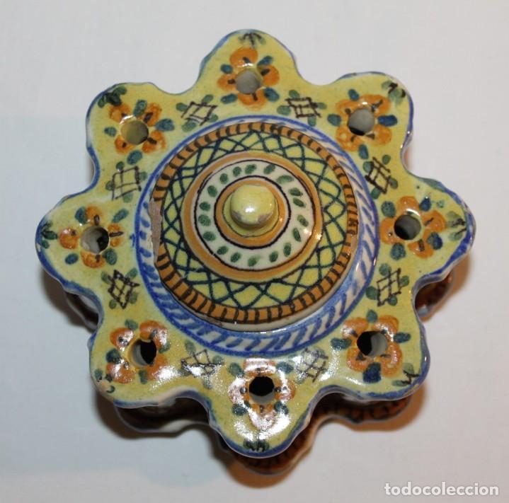 Antigüedades: TINTERO EN CERÁMICA ESMALTADA DE TRIANA - PRINCIPIOS DEL SIGLO XX - Foto 5 - 122545855