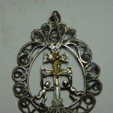 Antigüedades: MAGNIFICO MEDALLÓN RELIGIOSO. S.XVIII. PLATA TRABAJADA. CON CRUZ DE CARAVACA.. Lote 122546679