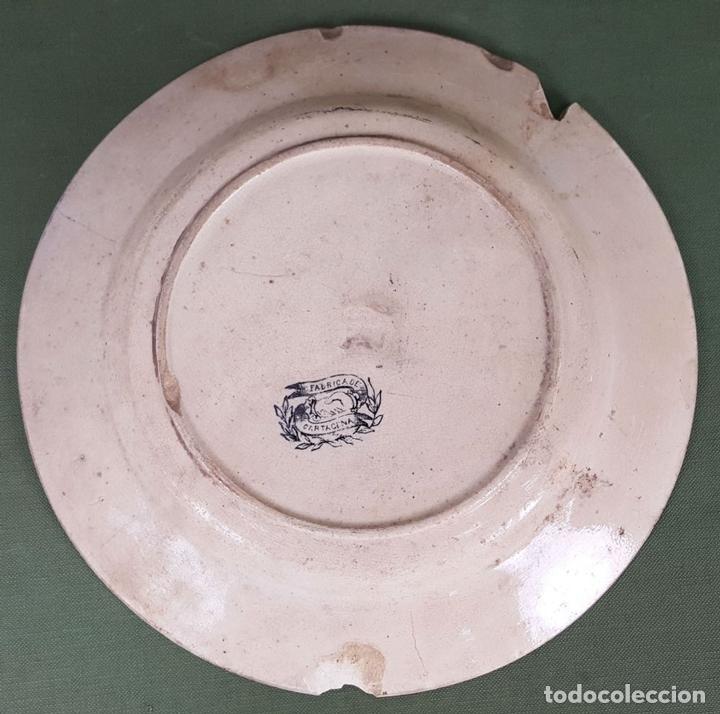 Antigüedades: PLATO DE PORCELANA. ESCENA POPULAR ESTAMPADA. FABRICA DE CARTAGENA. SIGLO XIX-XX. - Foto 3 - 122555855