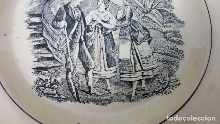 Antigüedades: PLATO DE PORCELANA. ESCENA POPULAR ESTAMPADA. FABRICA DE CARTAGENA. SIGLO XIX-XX. - Foto 6 - 122555855