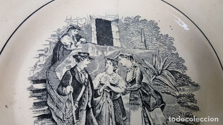 Antigüedades: PLATO DE PORCELANA. ESCENA POPULAR ESTAMPADA. FABRICA DE CARTAGENA. SIGLO XIX-XX. - Foto 7 - 122555855