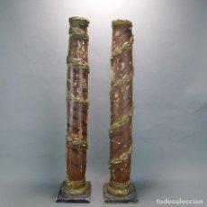 Antigüedades: IMPRESIONANTE ANTIGUA COLUMNAS DE RETABLO TALLADO DE MADERA Y POLICROMADOS DEL S.XVII. Lote 126455991