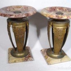 Antigüedades: PAREJA DE COPAS DE MÁRMOL Y ANTIMONIO DE ÉPOCA ART-DECO.. Lote 122564915