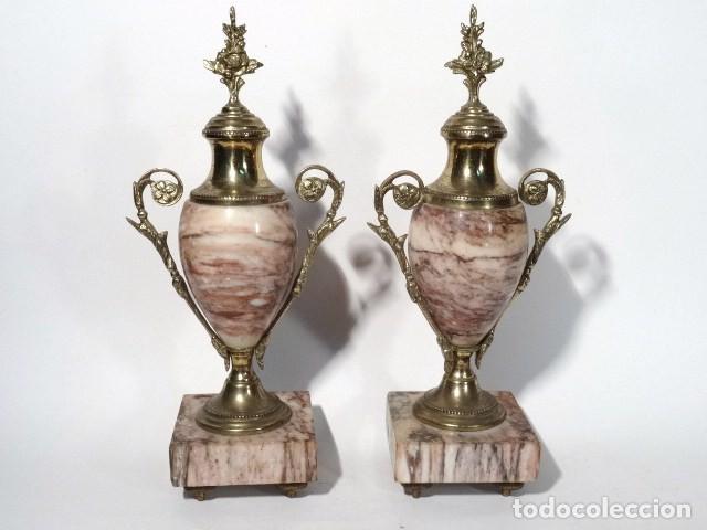 PAREJA DE COPAS. MÁRMOL, Y BRONCE.S.XIX-XX (Antigüedades - Hogar y Decoración - Copas Antiguas)