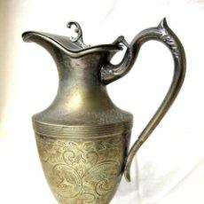 Antigüedades: JARRA CON TAPA PUNZONADA-NUMERADA BAÑO DE PLATA 23,5 CMS. Lote 122565835