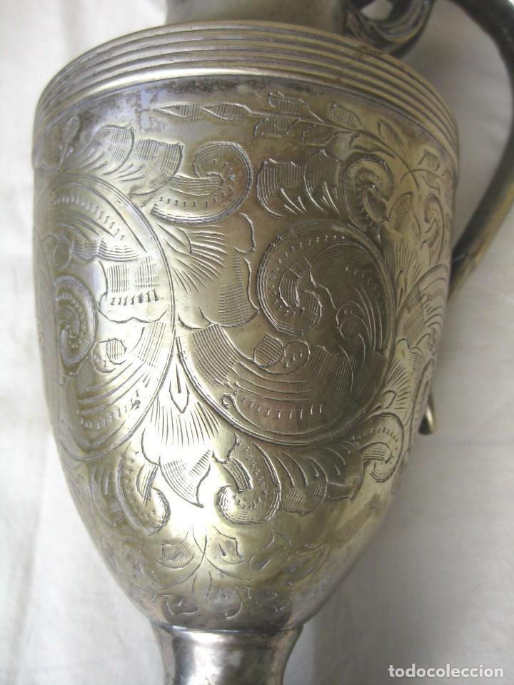 Antigüedades: JARRA CON TAPA PUNZONADA-NUMERADA BAÑO DE PLATA 23,5 CMS - Foto 3 - 122565835