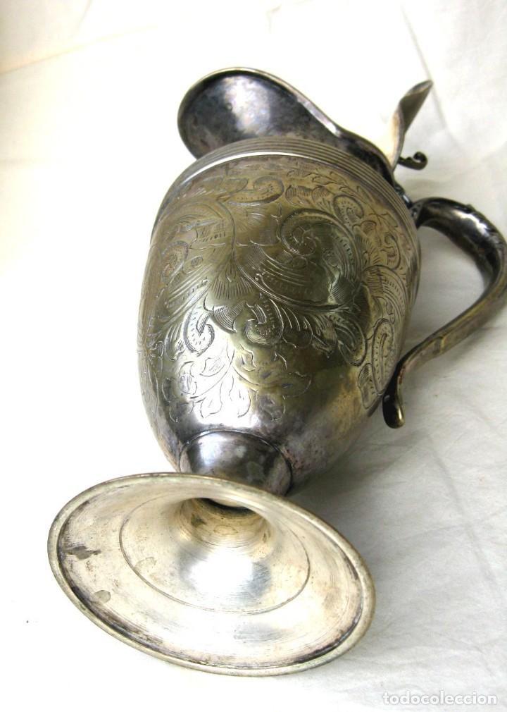 Antigüedades: JARRA CON TAPA PUNZONADA-NUMERADA BAÑO DE PLATA 23,5 CMS - Foto 4 - 122565835