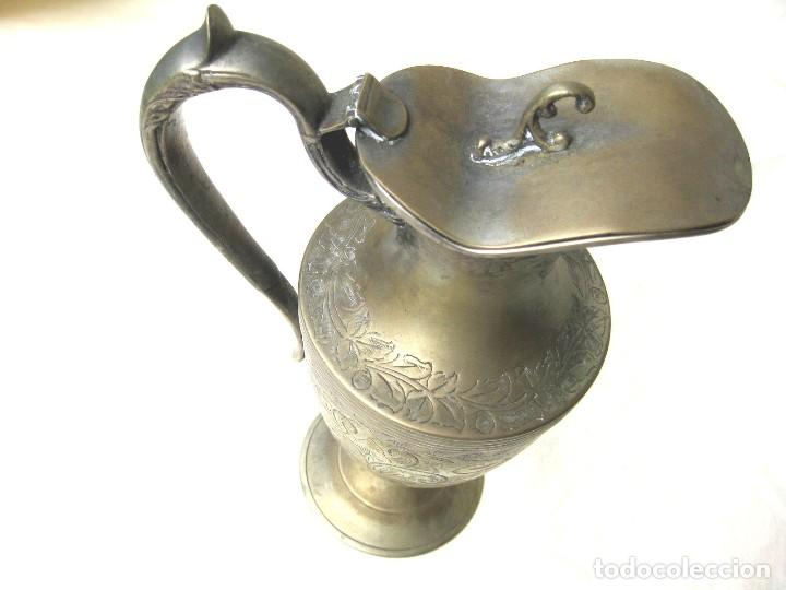Antigüedades: JARRA CON TAPA PUNZONADA-NUMERADA BAÑO DE PLATA 23,5 CMS - Foto 5 - 122565835