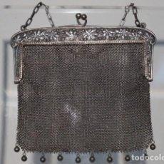 Antigüedades: BOLSO DE PLATA DE DOS COMPARTIMENTOS.. Lote 122569571