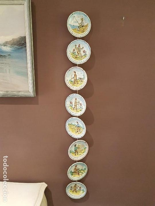 8 PLATOS ANTIGUOS DE DUARTE, CON REFRANES. TAL CUAL SE VEN. (Antigüedades - Porcelanas y Cerámicas - Manises)