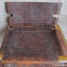 Antigüedades: UN ASIENTO Y UN RESPALDO -- DE CUERO -- MEDIDAS 60 X 47, 5 CM.. Lote 122611471