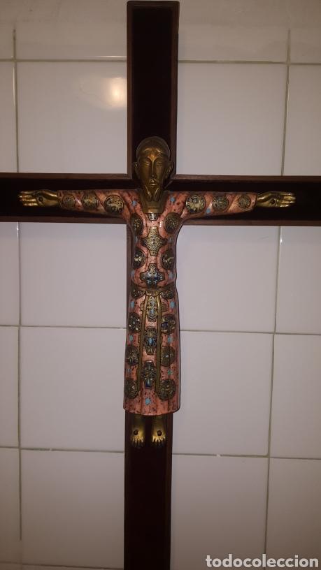 Antigüedades: GRAN CRUCIFIJO CON CRISTO CON ESMALTES - Foto 2 - 122620714