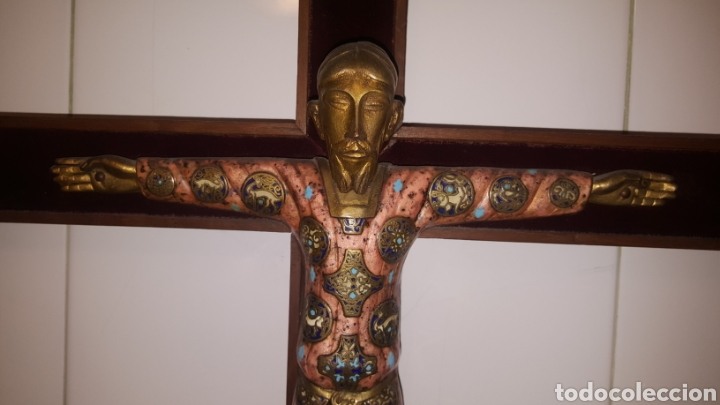 Antigüedades: GRAN CRUCIFIJO CON CRISTO CON ESMALTES - Foto 3 - 122620714