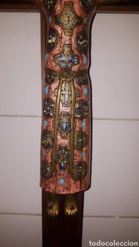 Antigüedades: GRAN CRUCIFIJO CON CRISTO CON ESMALTES - Foto 4 - 122620714