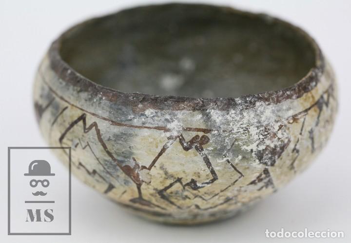 Antigüedades: Antiguo Cuenco / Vasija Artesanal de Cerámica Policromada - Arte Étnico - Medidas 10 x 10 x 5 cm - Foto 2 - 122646515