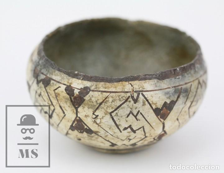 Antigüedades: Antiguo Cuenco / Vasija Artesanal de Cerámica Policromada - Arte Étnico - Medidas 10 x 10 x 5 cm - Foto 3 - 122646515