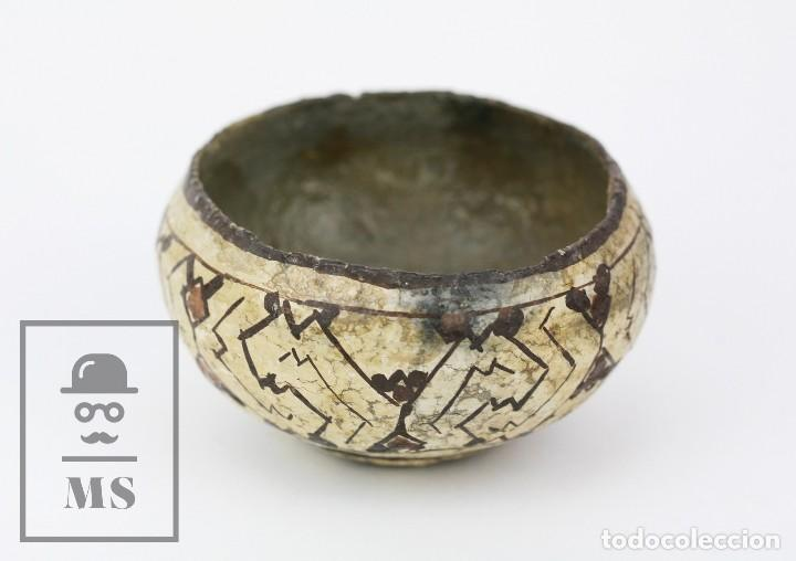 Antigüedades: Antiguo Cuenco / Vasija Artesanal de Cerámica Policromada - Arte Étnico - Medidas 10 x 10 x 5 cm - Foto 9 - 122646515