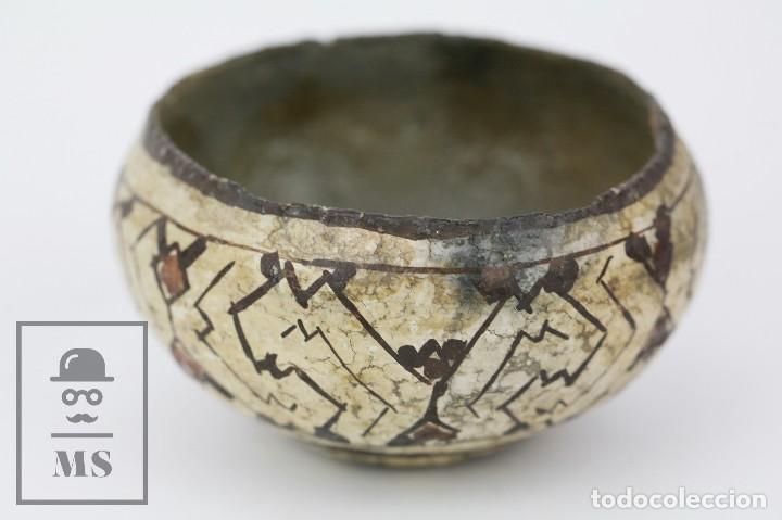 Antigüedades: Antiguo Cuenco / Vasija Artesanal de Cerámica Policromada - Arte Étnico - Medidas 10 x 10 x 5 cm - Foto 10 - 122646515