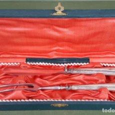 Antigüedades: CUBIERTOS DE SERVIR. ACERO INOXIDABLE. MANGOS DE PLATA. SIGLO XX. . Lote 122665855