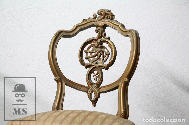 Antigüedades: Pareja de Antiguas Sillas Rococó / Luis XV - Madera Tallada y Tapicería de Tela - Siglo XIX - Foto 2 - 122679767