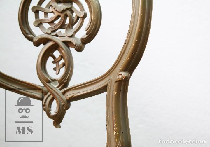 Antigüedades: Pareja de Antiguas Sillas Rococó / Luis XV - Madera Tallada y Tapicería de Tela - Siglo XIX - Foto 6 - 122679767