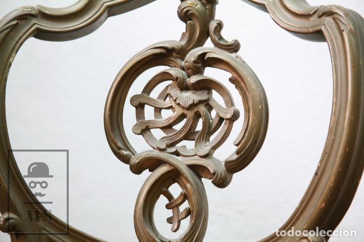 Antigüedades: Pareja de Antiguas Sillas Rococó / Luis XV - Madera Tallada y Tapicería de Tela - Siglo XIX - Foto 7 - 122679767