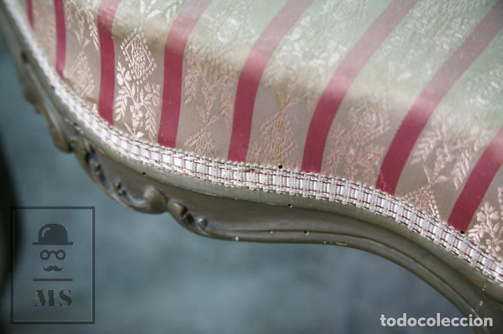 Antigüedades: Pareja de Antiguas Sillas Rococó / Luis XV - Madera Tallada y Tapicería de Tela - Siglo XIX - Foto 9 - 122679767